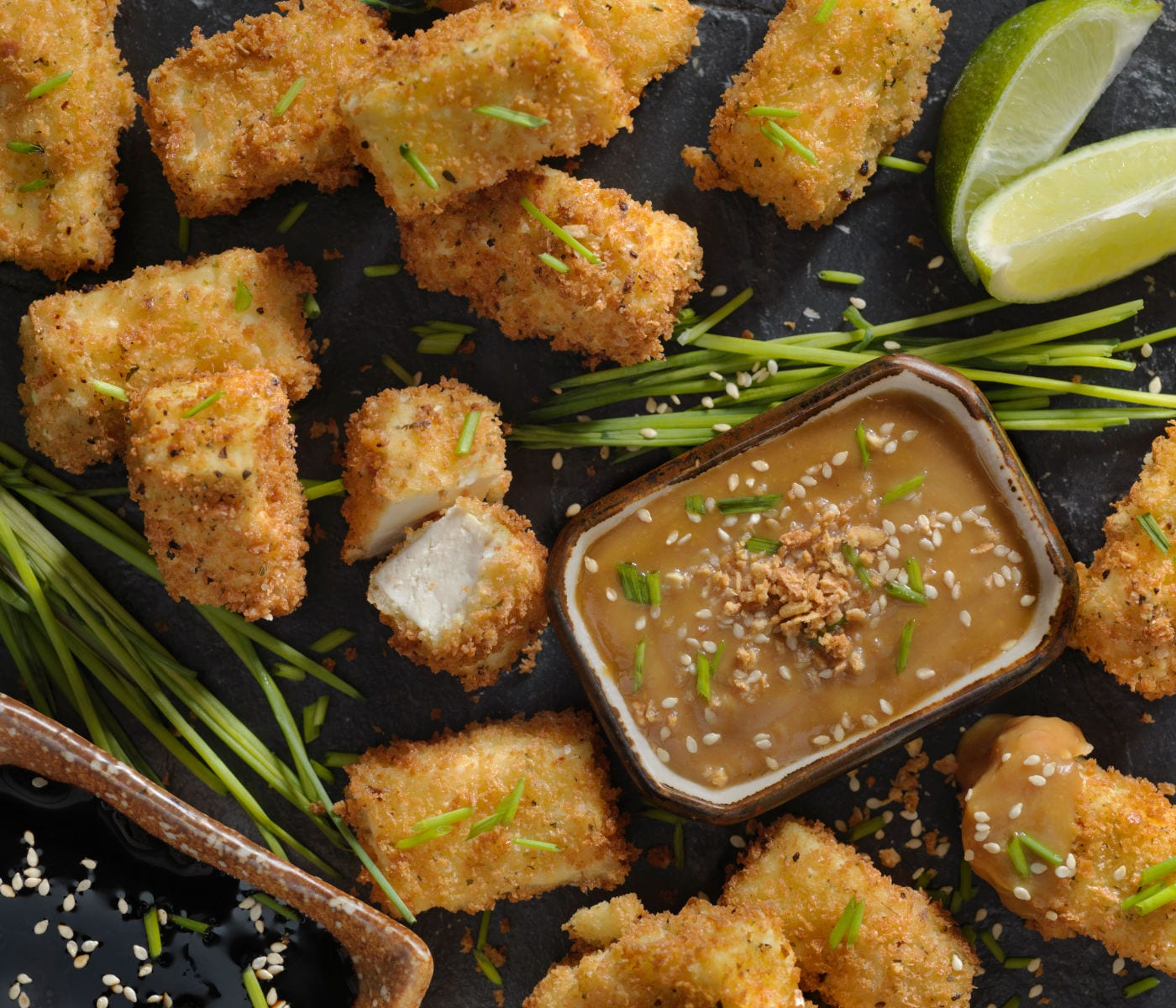 Breaded Tofu Bites with a Ginger Peanut Dipping Sauce